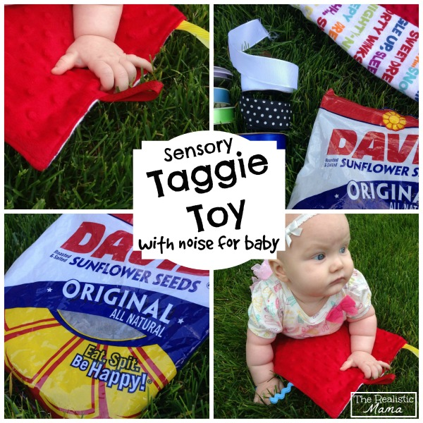 Easy Make Your Own Sensory Taggie Toy, with noise for baby