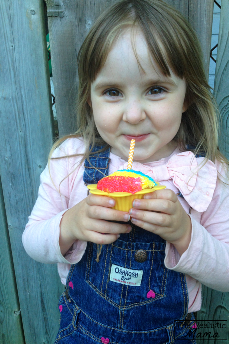 Enjoying a Snow Cone Cupcake - an easy decorating tutorial