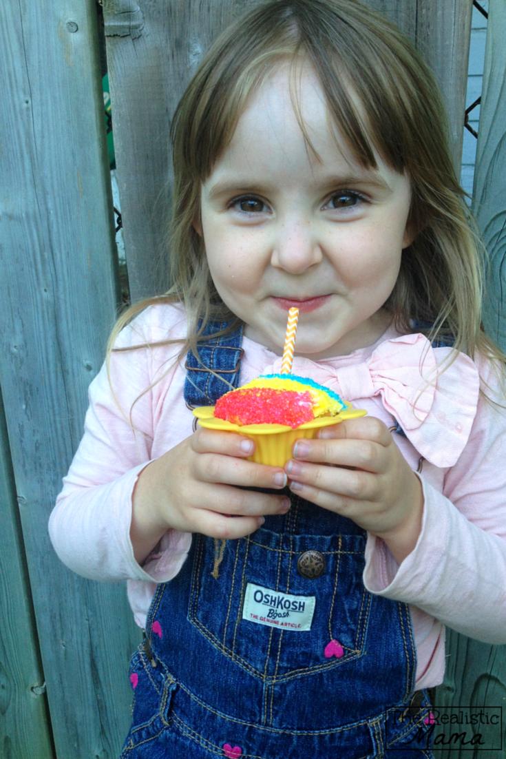Enjoying a Snow Cone Cupcake - an easy decorating tutorial