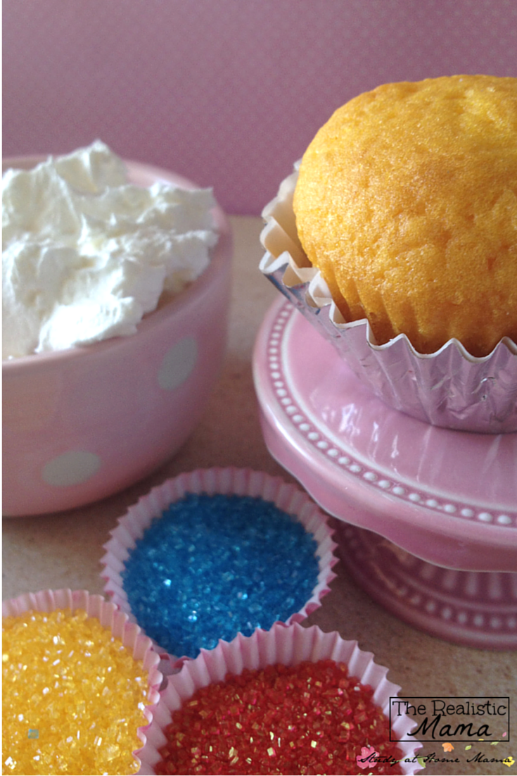 Ingredients for decorating your own Snow Cone Cupcakes with the kids