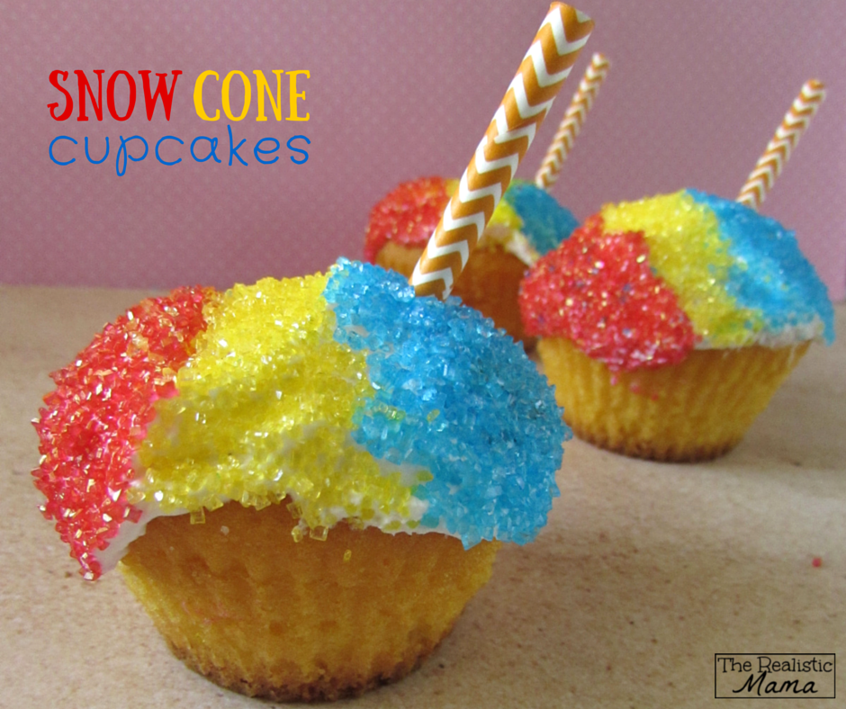 How cute are these Snow Cone Cupcakes? Super easy to make, and you can even use store-bought muffins as the base!