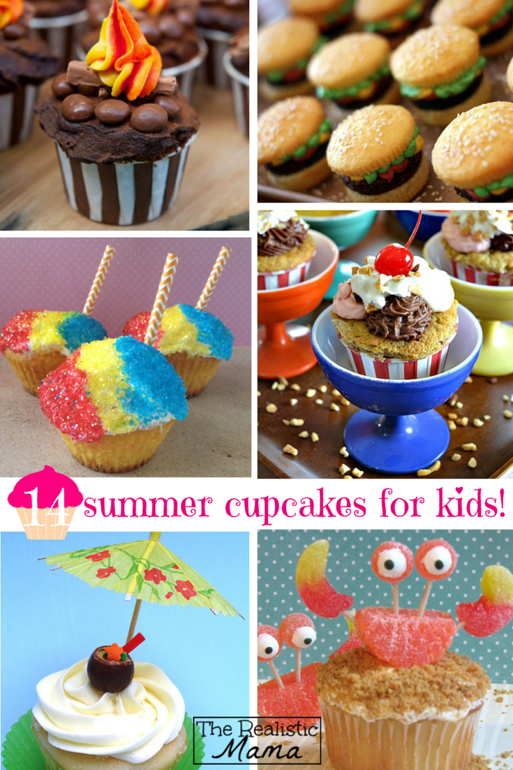 14 Fun Summer Cupcakes for Kids -- how cute (and easy!) are these kids cupcakes!