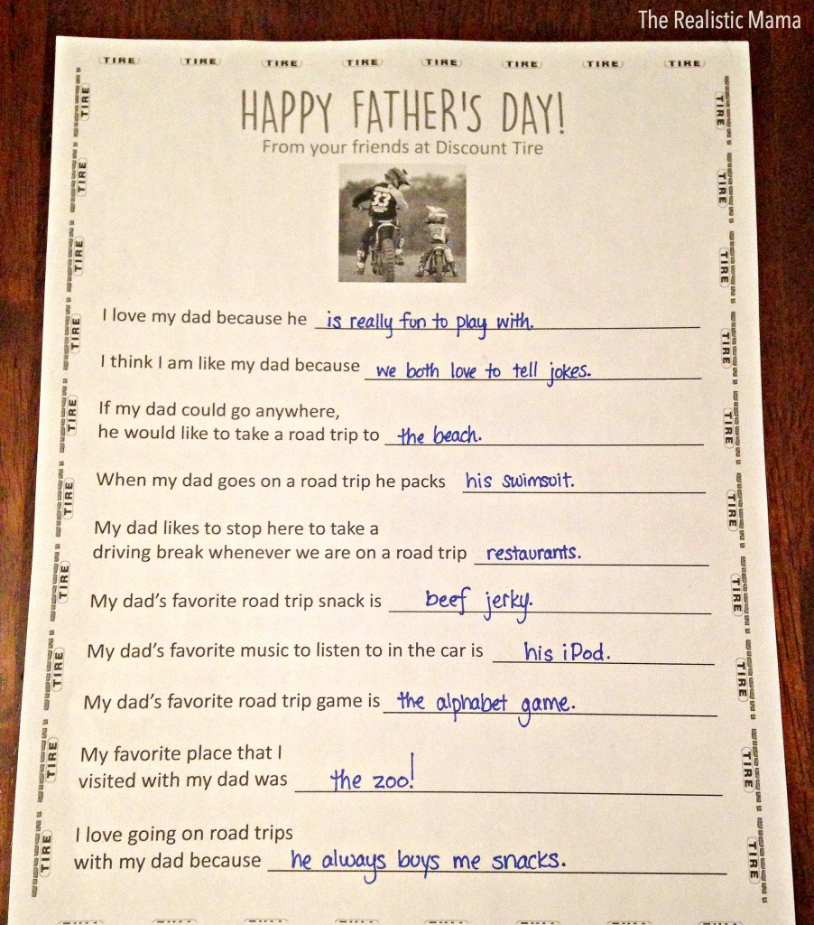 Free Father's Day Questionnaire Printable