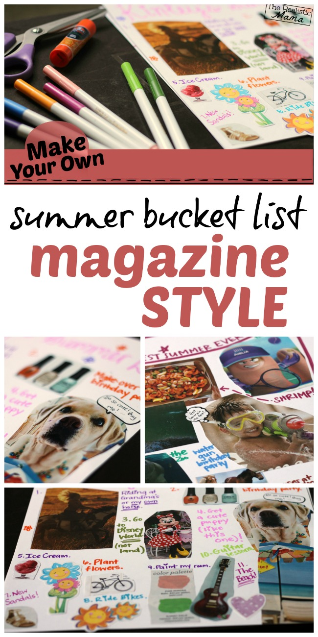 Make a magazine style summer bucket list