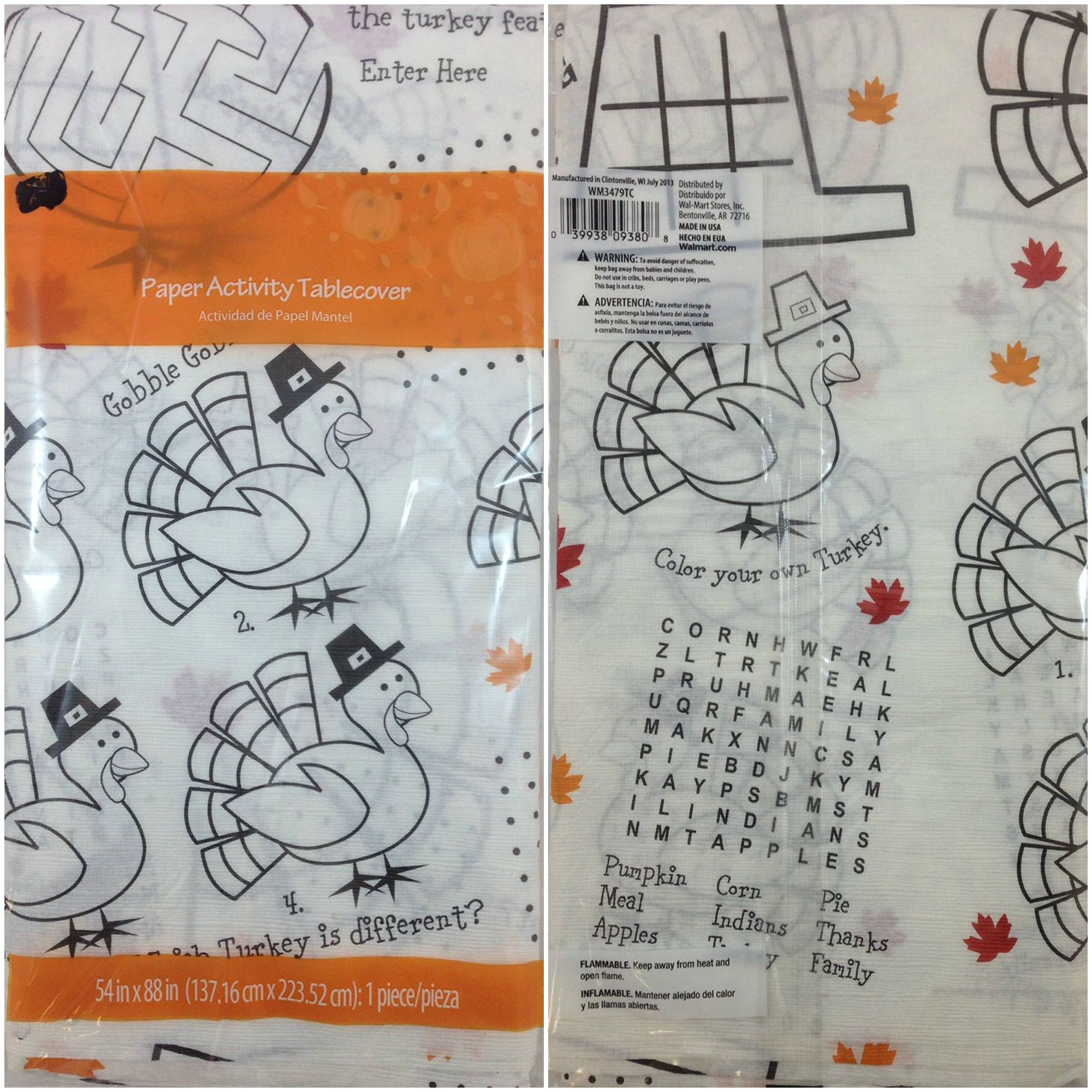 Thanksgiving Paper Activity Tablecover