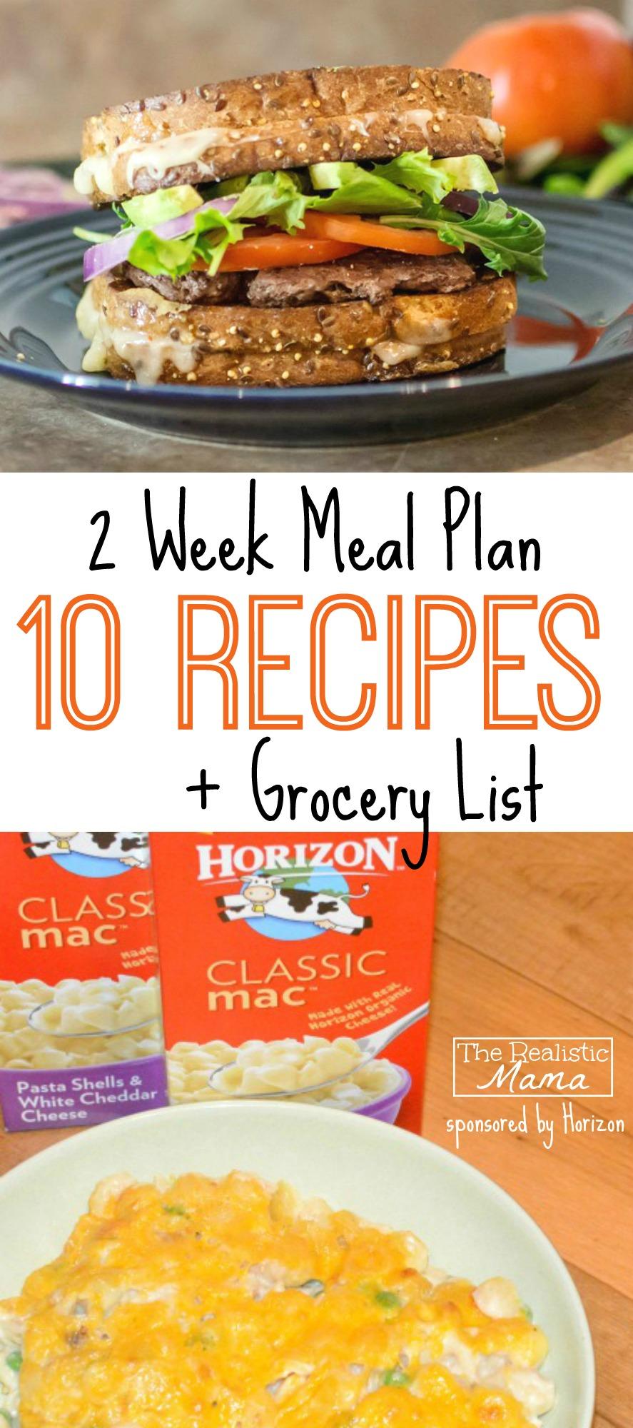 2 Week Meal Plan FREE -- 10 Recipes + Grocery List!