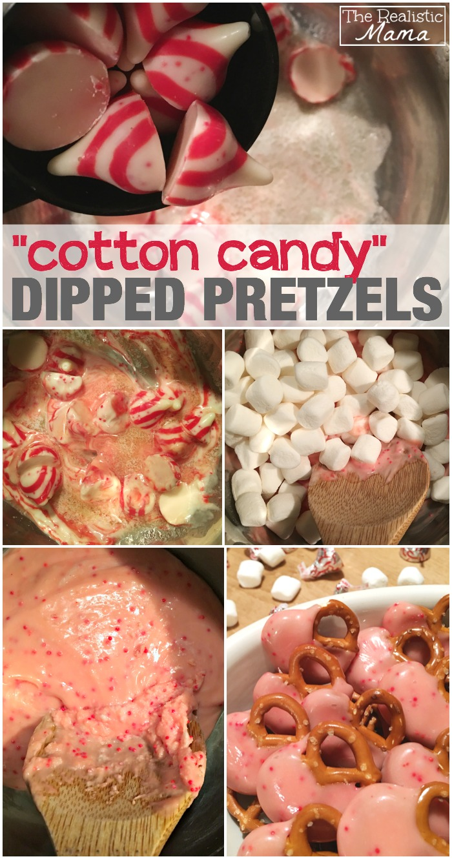 Cotton Candy Dipped Pretzels