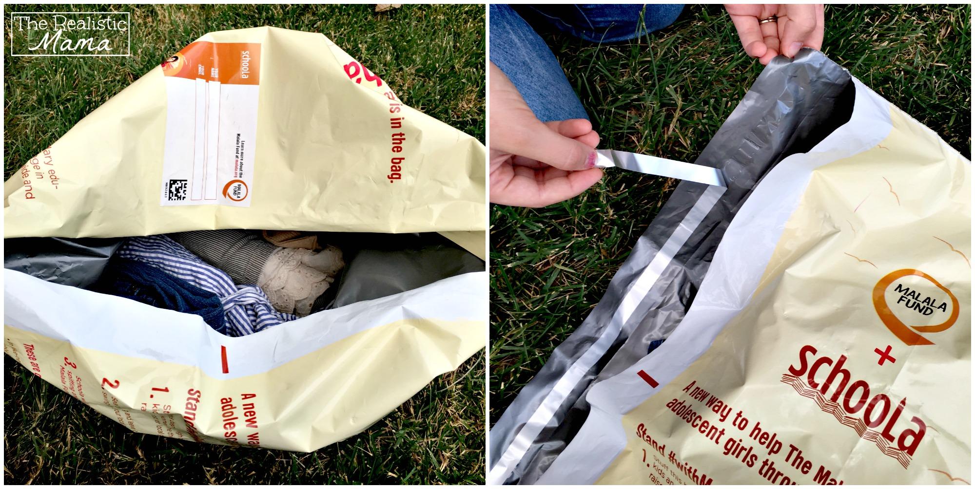 Filling a Malala donation bag