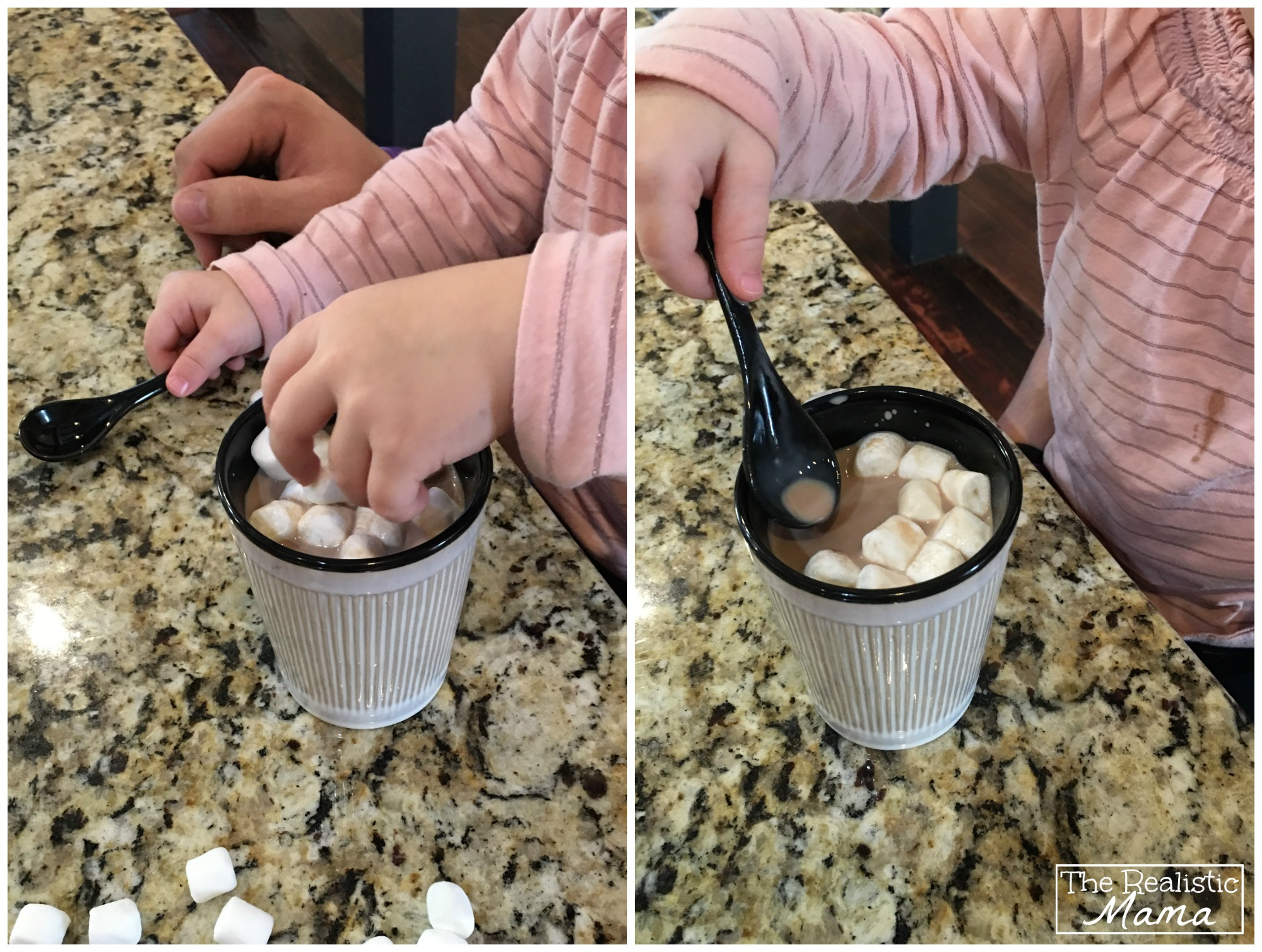 Kid drinking hot chocolate