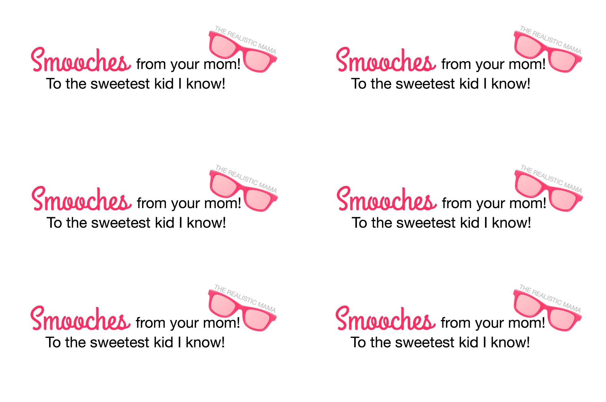 Smooches from Your Mom. Free Lunchbox Printable.