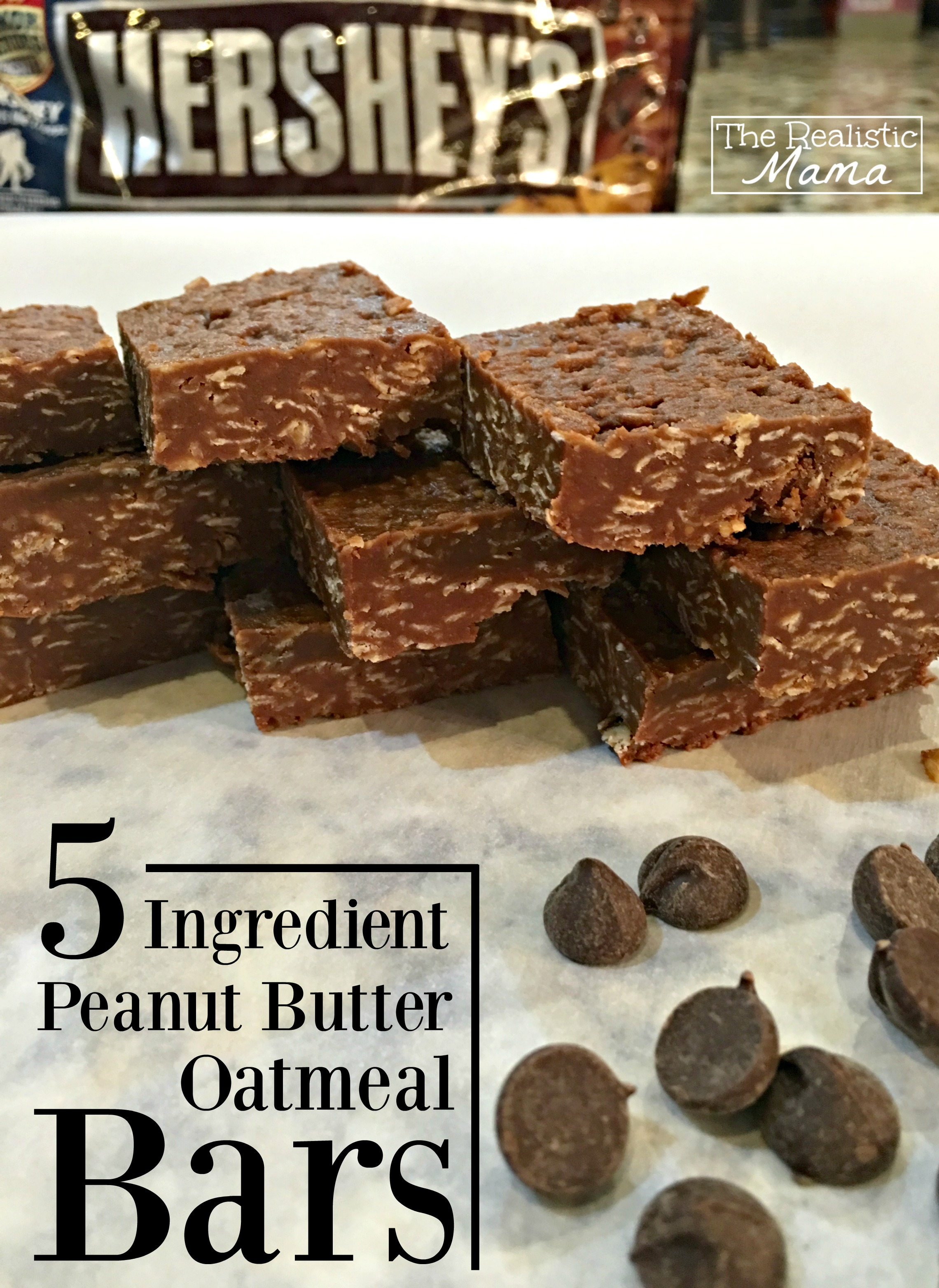5 Ingredient Peanut Butter Oatmeal Bars - Yummy!