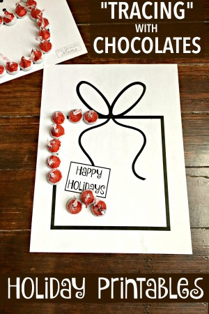 Tracing with Chocolate Activity for Kids - Free Holiday Printables