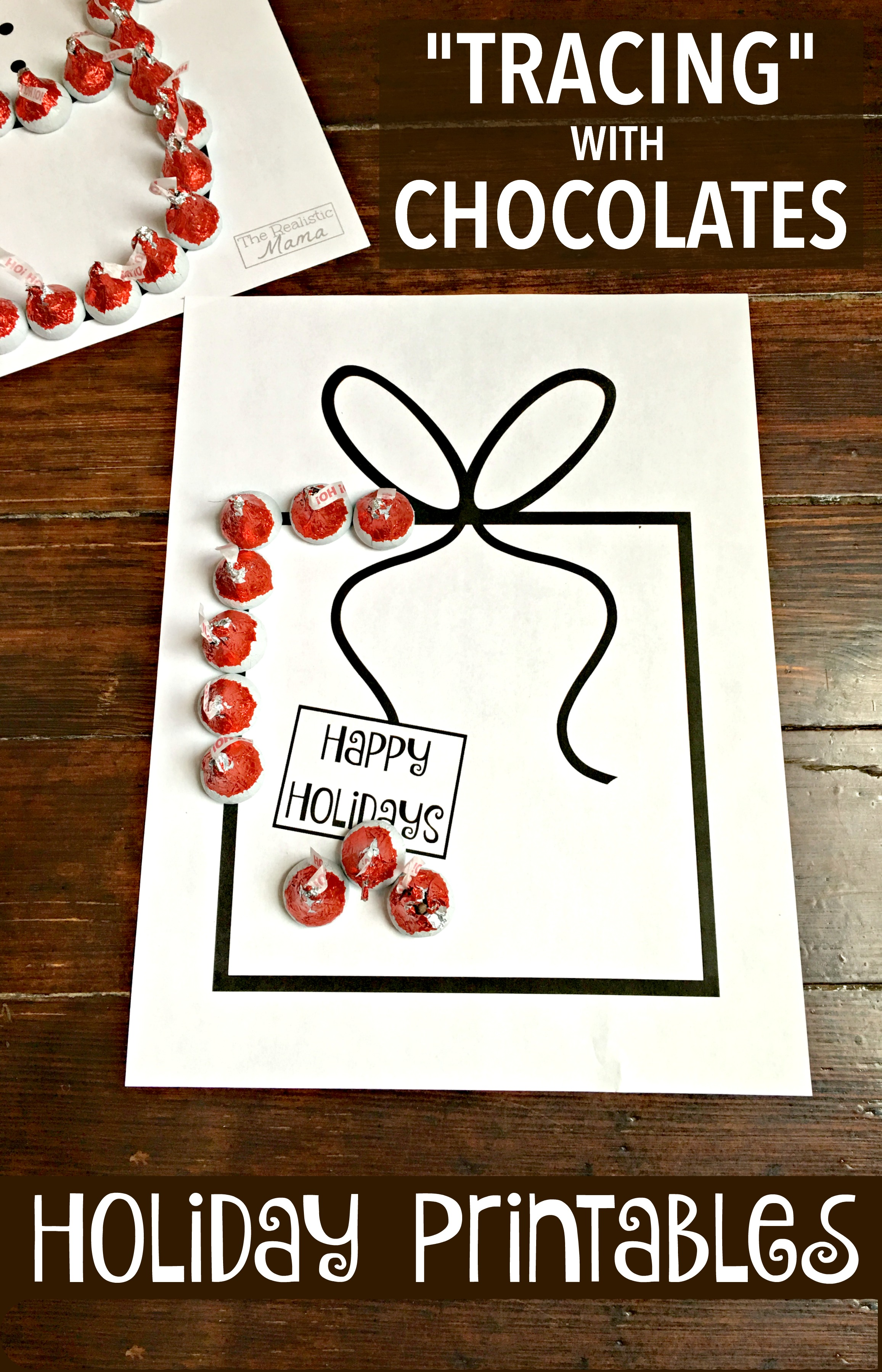 tracing with chocolate activity for kids free holiday printables - Kids Free Holiday