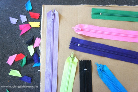 arrange-zippers-on-sensory-board-for-children