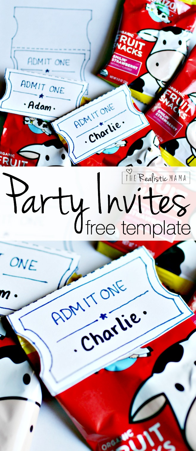 Admit One Party Invites - Cute!