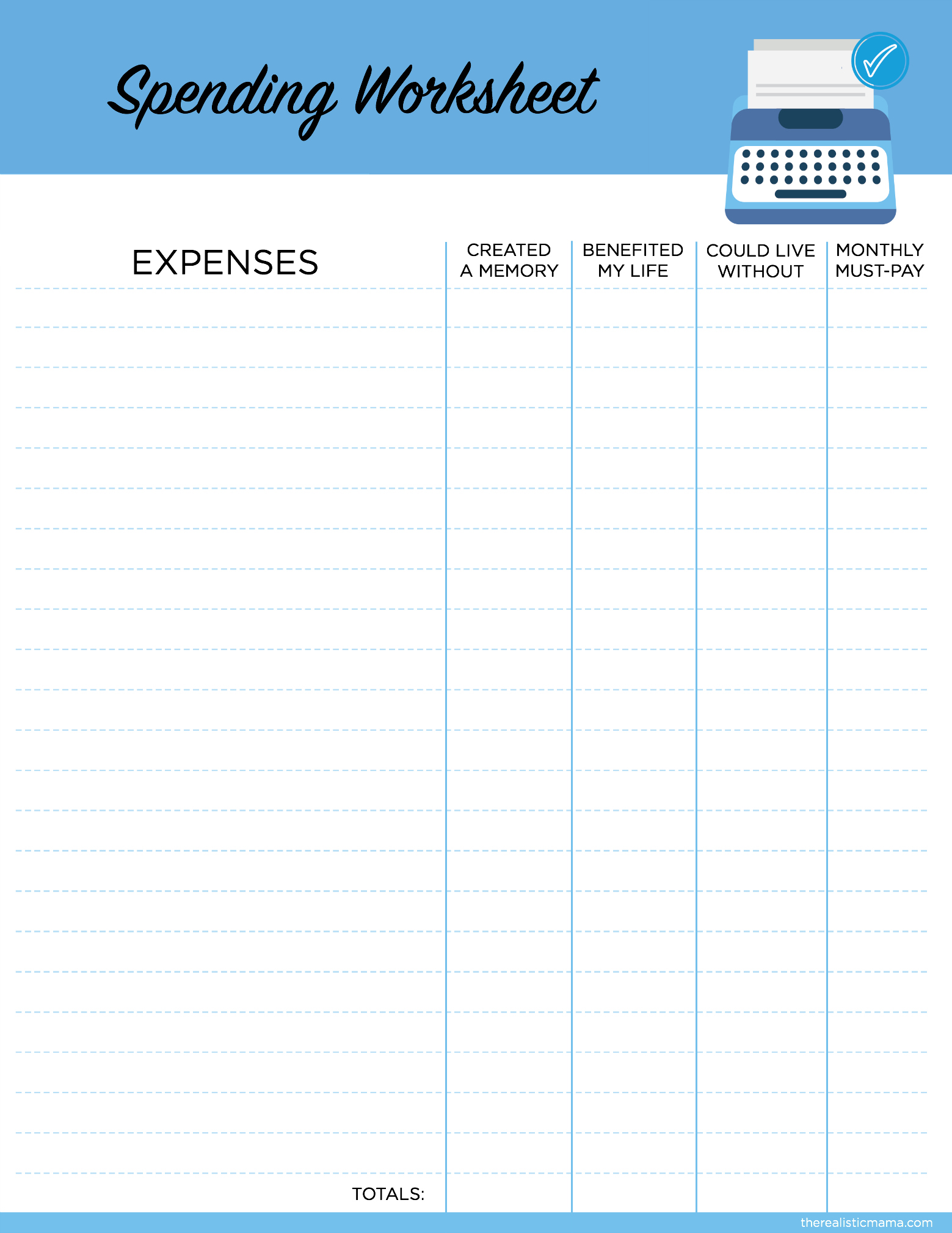 Spending Worksheet | Save Money