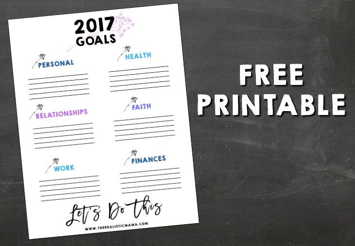 Free Printable for 2017 Goals
