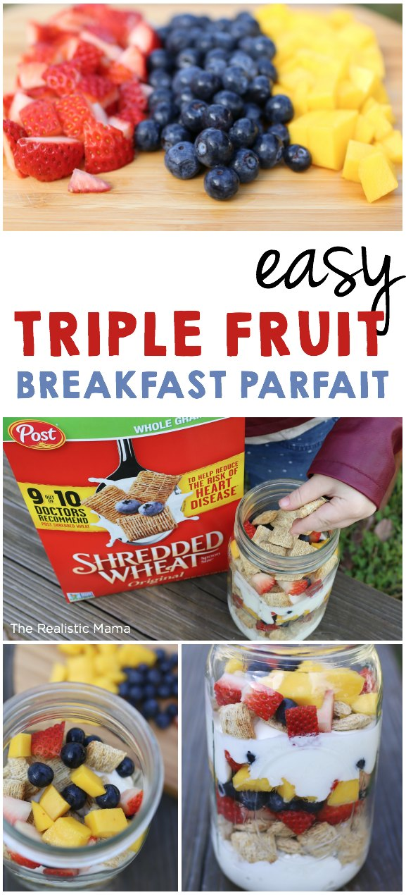 My New Years Resolution is to Eat More Fruits + Veggies! This Easy Triple Fruit Breakfast Parfait is Perfect!