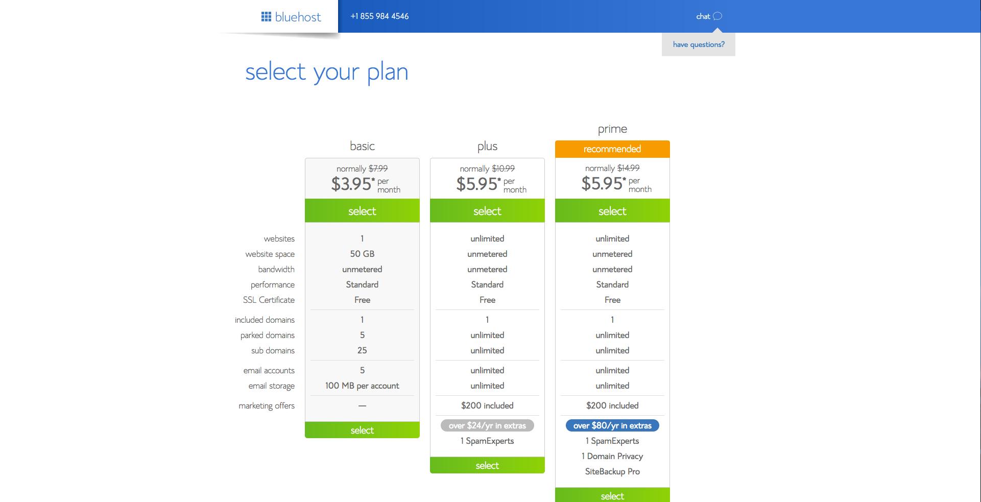 Select Your Blog Hosting Plan